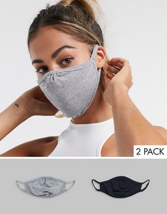 2 Pack Face Coverings in Black and Grey