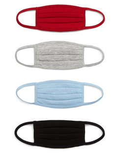 4-Pack Kids' Pleated Cotton Face Masks