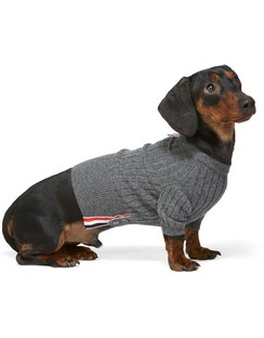 Grey Cashmere 4-Bar Rib Knit Dog Sweater