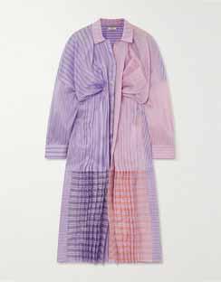 Oversized Gathered Striped Silk & Cotton-Blend Organza Shirt Dress
