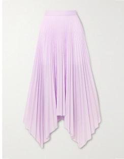 Sortilege Asymmetric Pleated Crepe Midi Skirt