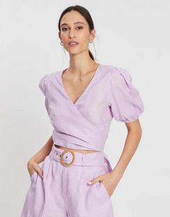 Short Sleeve Linen Wrap Top