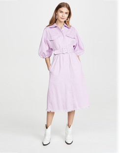 Shirtdress With White Top Stitch