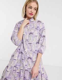 Totto Statue Print Drop Hem Midi Dress