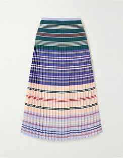 Haylard Pleated Striped Crepe de Chine Midi Skirt