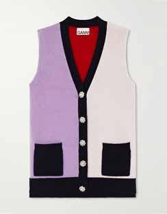 Crystal-Embellished Color-Block Cashmere Vest