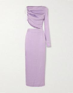 Leo One-Sleeve Cutout Satin-Jacquard Midi Dress