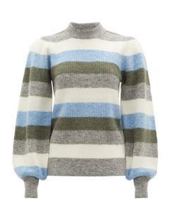 Balloon-sleeve Striped Wool-blend Knit Sweater