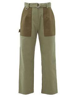 Panelled Cotton-gabardine Straight-leg Trousers