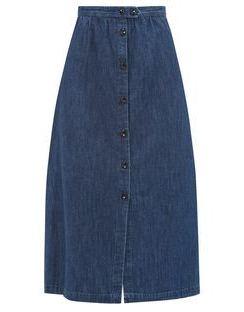 Buttoned Denim Midi Skirt