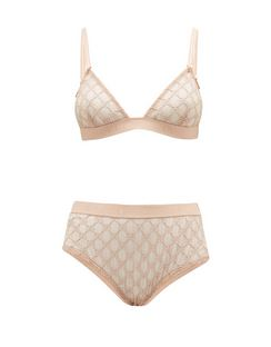 GG-jacquard Tulle Bra and High-rise Briefs
