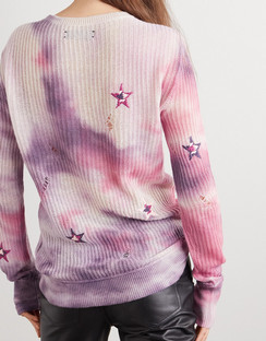Distressed Embroidered Tie-dyed Cashmere Sweater