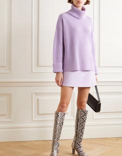 Mel Open-back Ribbed Wool-blend Turtleneck Sweater