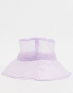 Mesh Turn Back Bucket Hat in Lilac