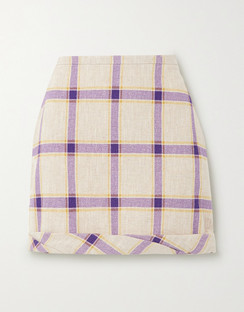 Cecilie Gathered Checked Linen Mini Skirt