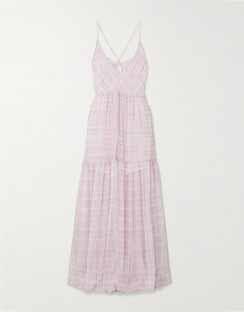 Mistral Cutout Checked Chiffon Maxi Dress