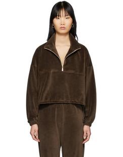 SSENSE Exclusive Brown Velour Diana Half-Zip Sweatshirt