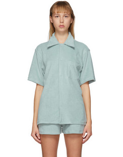 SSENSE Exclusive Blue Terry Bowling Shirt