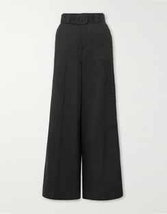 Belted Wool Wide-leg Pants