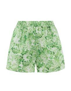 High-rise Rose-print Cotton-poplin Shorts