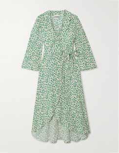 Floral-print Crepe Wrap Dress