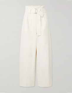 Belted Cotton-blend Drill Wide-leg Pants