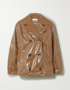 Double-breasted Faux Patent-leather Jacket