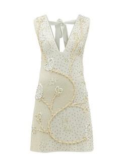 Tie-back Floral Beaded-crepe Mini Dress