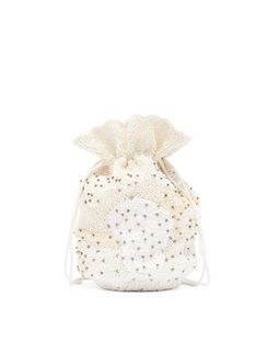Bead and Sequin-embellished Drawstring Pouch