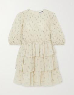 Floral Print Pleated Georgette Mini Dress