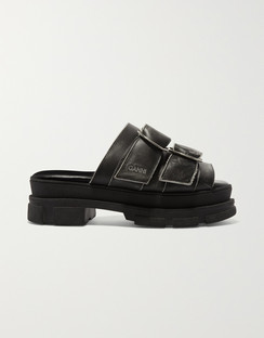 Sporty Logo-embossed Distressed Buckled Leather Sandals