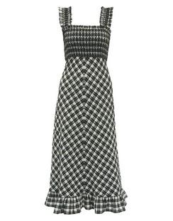 Square-neck Cotton-blend Gingham-seersucker Dress