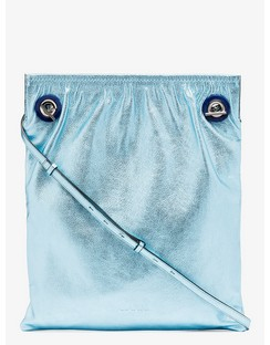 Blue Metallic Leather Tote Bag
