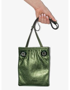 Green Ruched Eyelet Leather Cross Body Bag