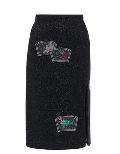 Side-zip Beaded Pencil Skirt