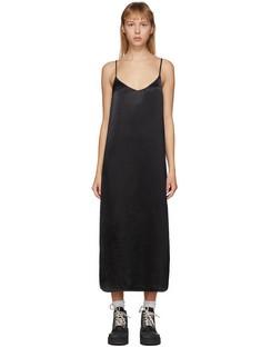 Black Heavy Satin Slip Dress