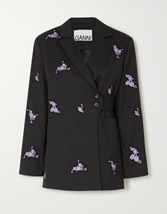 Belted Embroidered Wool Blazer