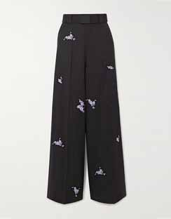 Belted Embroidered Wool wide-leg Pants