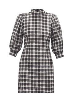 Puff-sleeve Cotton-blend Gingham-seersucker Dress