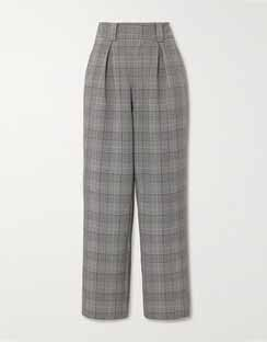 Prince of Wales Checked Woven Wide-leg Pants