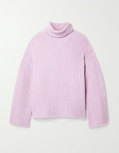 Raw Ribbed Wool-blend Turtleneck Sweater