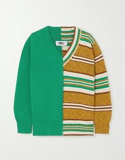 Paneled Striped Cotton Sweater