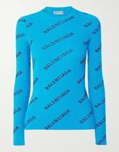 Printed Ribbed-knit Top