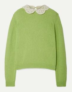 Crochet-trimmed Wool Sweater