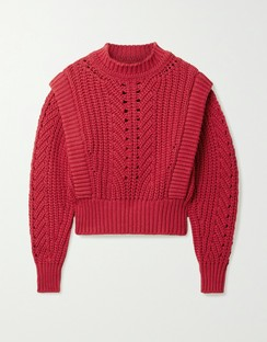 Prune Ribbed Pointelle-knit Sweater