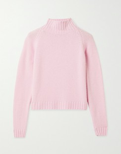 Highland Cropped Ribbed Cashmere Turtleneck Sweater