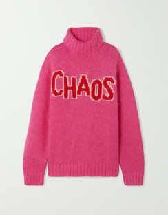 Chaos oversized intarsia knitted turtleneck sweater