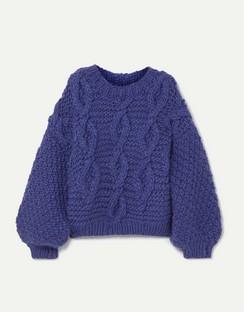 Diamond Oversized Cable-knit Wool Sweater