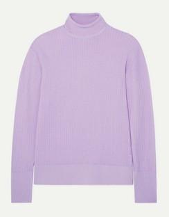 Pointelle-knit Merino Wool Turtleneck Sweater