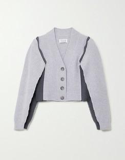 Ombra Paneled Ribbed-knit Cardigan